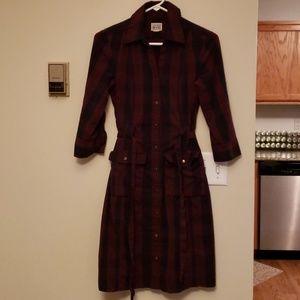 Knee length maroon plaid dress